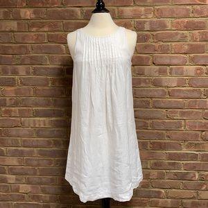 Vineyard Vines White Linen Pintuck Swing Dress